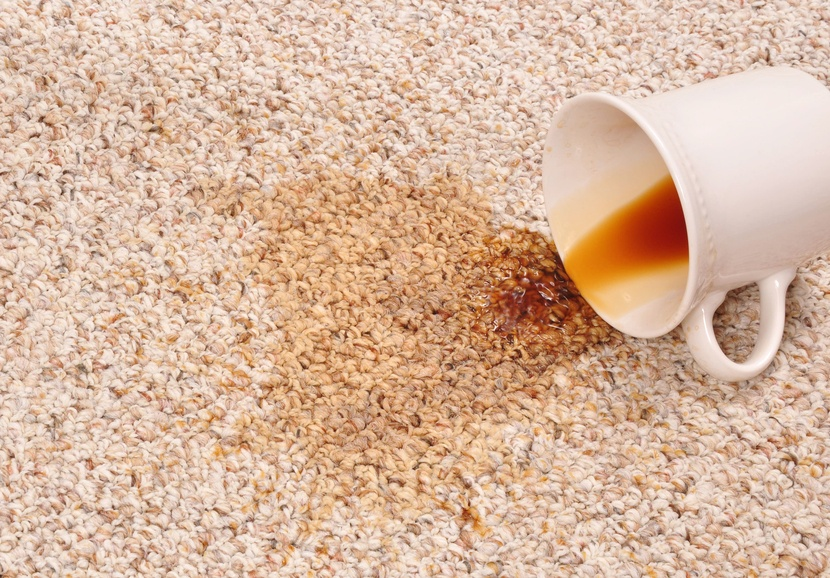 Spilled coffee creating a stain