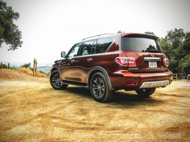 A Nissan Armada sits atop a mountain in northern California