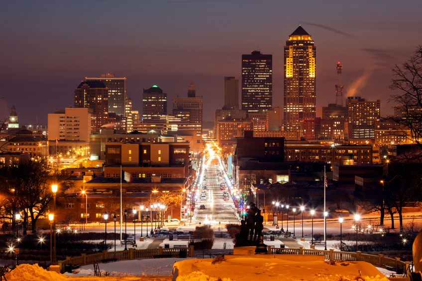 Des Moines skyline at sunset