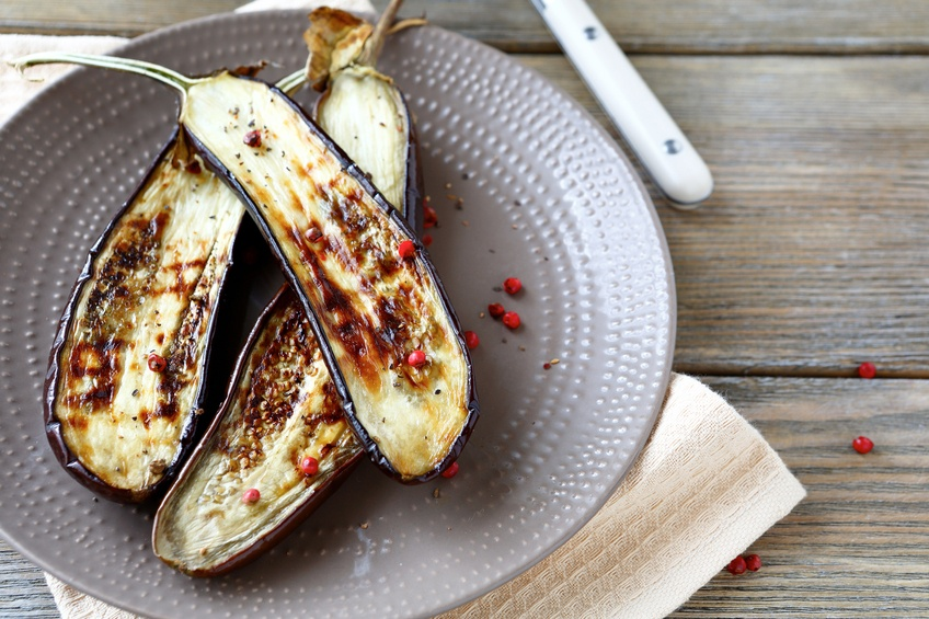 Eggplant roasted on plate