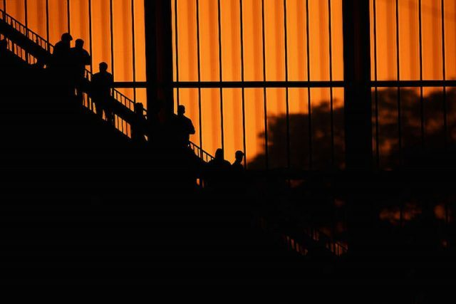 LENS, FRANCE - JUNE 21: Fans silhouetted during the UEFA EURO 2016 Group D match between Czech Republic and Turkey at Stade Bollaert-Delelis on June 21, 2016 in Lens, France.