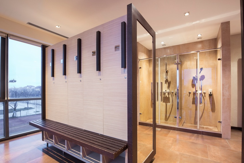 A gym locker room and shower