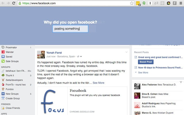 Focusbook - Chrome extensions