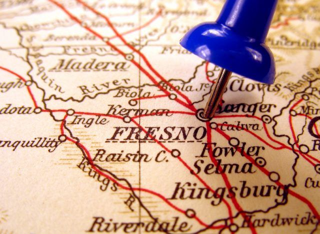 """Fresno, California pinned on a map"