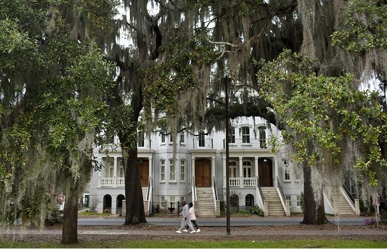 A couple walks along Forsyth Park March 2, 2012 in Savannah, Georgia.