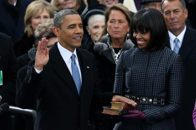 Barack Obama during his swearing in ceremony.