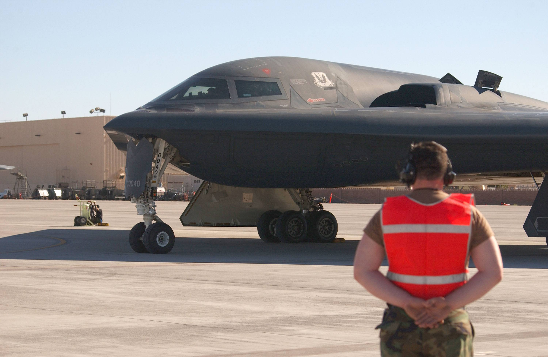 A Northrop Grumman B-2 Bomber taxis
