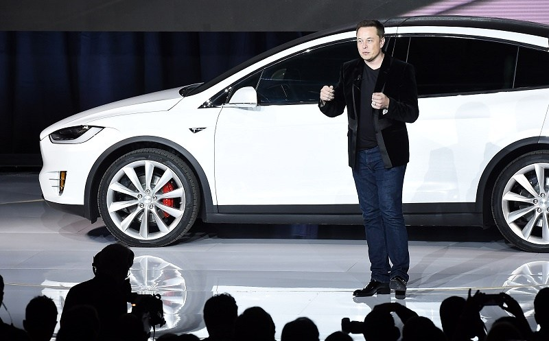 Tesla CEO Elon Musk speaks at the Model X launch event in Fremont, California on September 29, 2015.