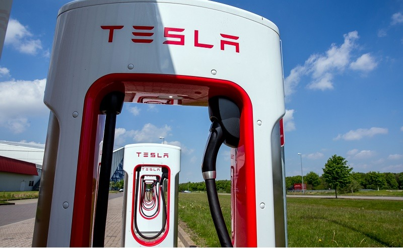 Tesla charging stations for electric cars are pictured in Wittenburg, northeastern Germany, on May 18, 2016.