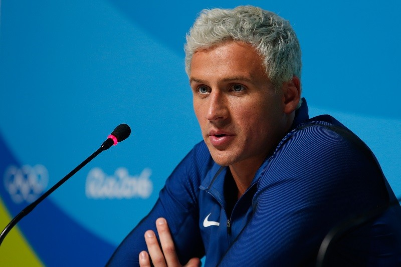 Ryan Lochte of the United States attends a press conference
