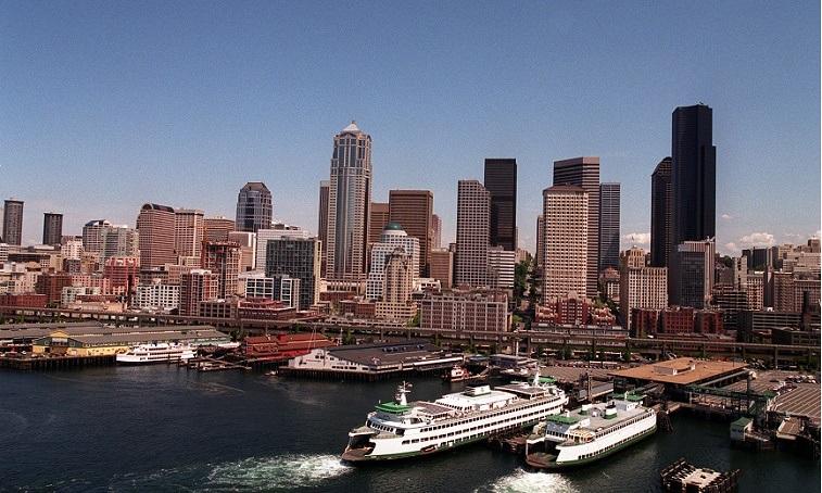 A view of the skyline in Seattle, Washington taken in 2000