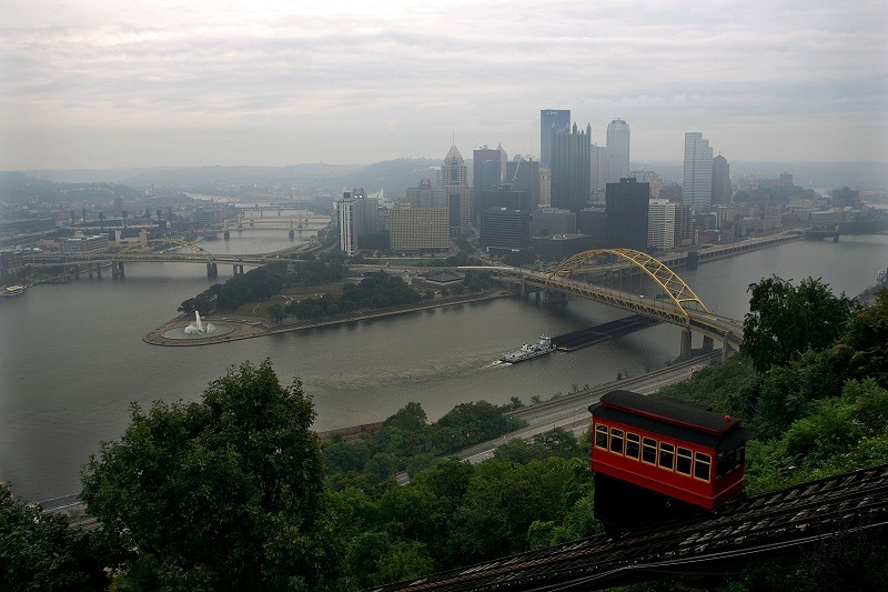 A passenger car travels down the Duquesne Incline in Pittsburgh, Pennsylvania