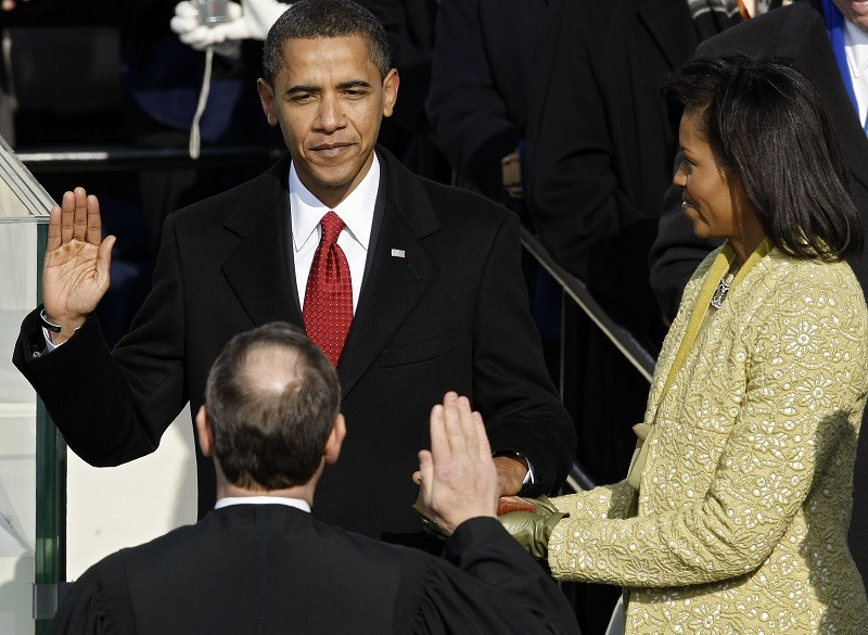 Barack H. Obama is sworn in by Chief Justice John Roberts as the 44th president of the United States in January 2009