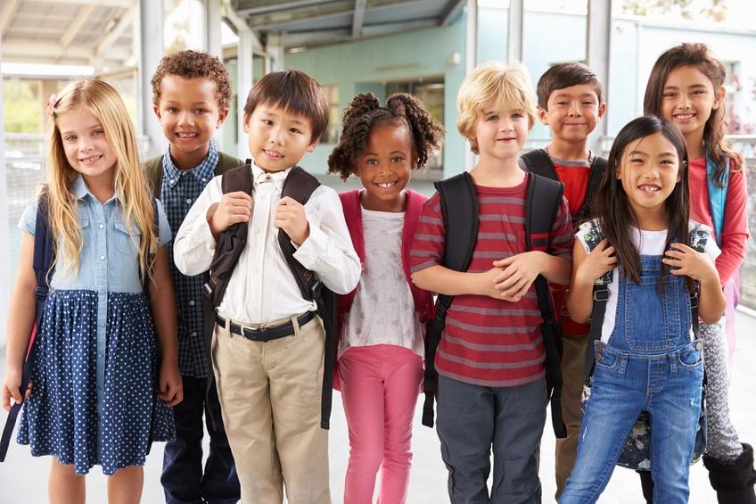 elementary school kids in school corridor