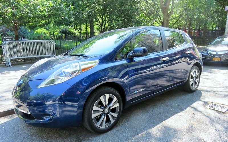 A Nissan Leaf illegally parked (fire hydrant) at Tompkins Square Park in Manhattan