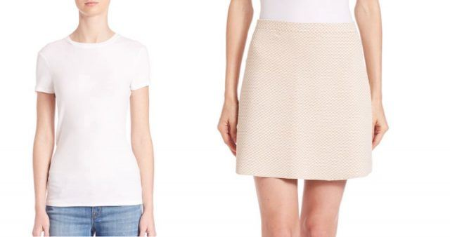 J Brand tee and Theory skirt