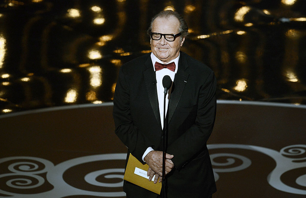 Actor Jack Nicholson presents the Best Picture award