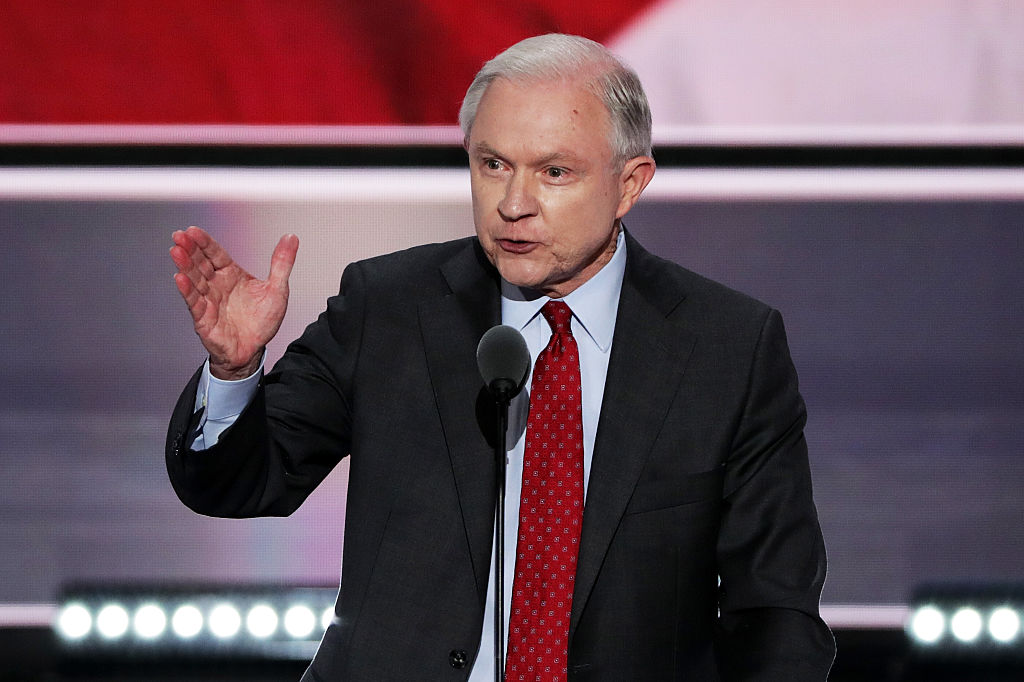 Sen. Jeff Sessions (R-AL) delivers a speech