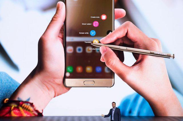 Justin Denison, senior vice president of product strategy at Samsung, speaks during a launch event for the Samsung Galaxy Note 7 at the Hammerstein Ballroom, August 2, 2016 in New York City. The stylus equipped smartphone will be available starting August 19, with preorders starting August 3.