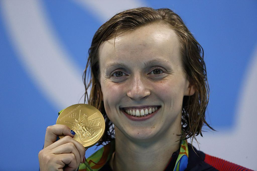 US swimmer Katie Ledecky with her gold medal