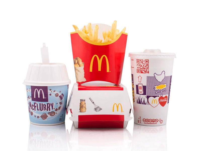 McDonald's meal with white background