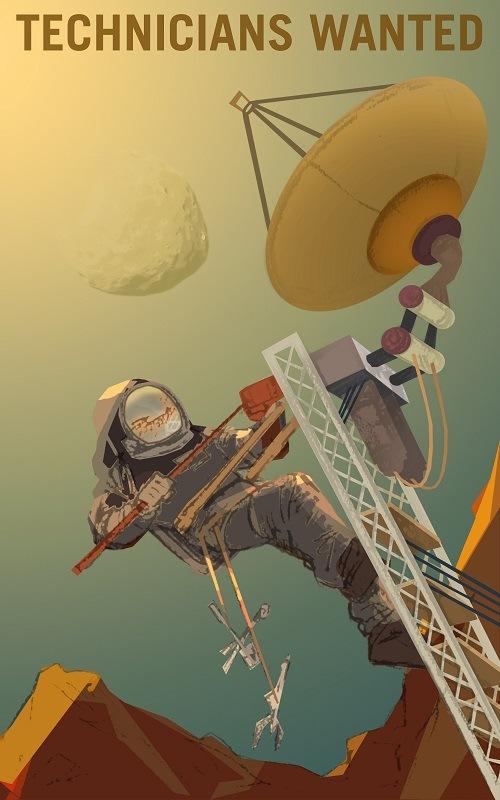 A Martian technician fixing an array