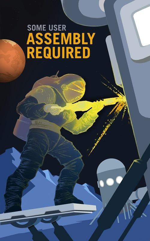 An astronaut repairing a spaceship