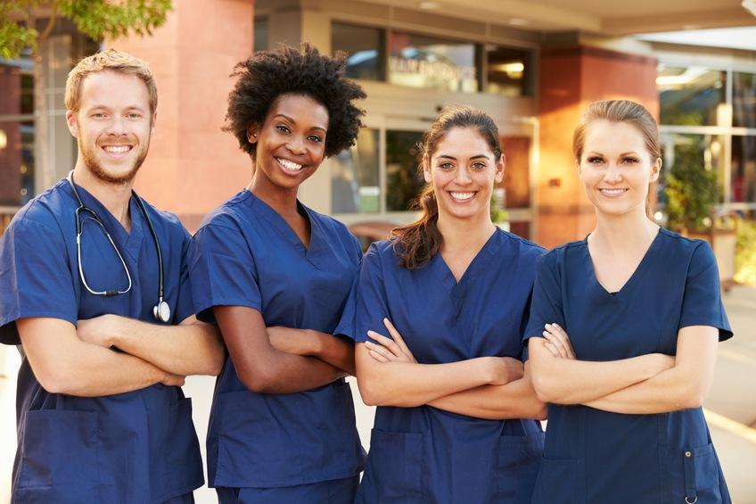 Medical Team Standing Outside Hospital