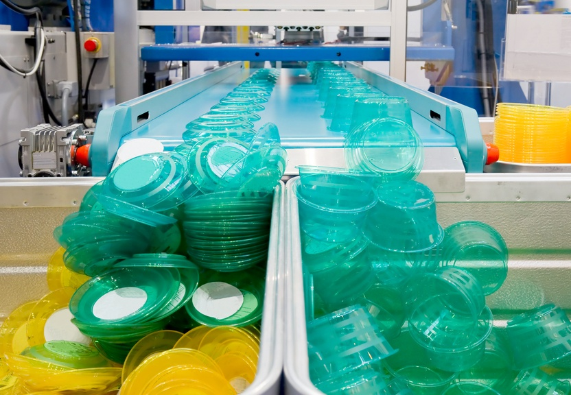 plastic items in a production plant