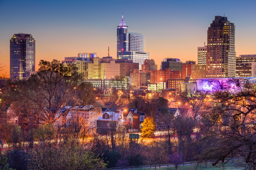 The Raleigh, North Carolina, skyline would probably be spared in most flood situations.
