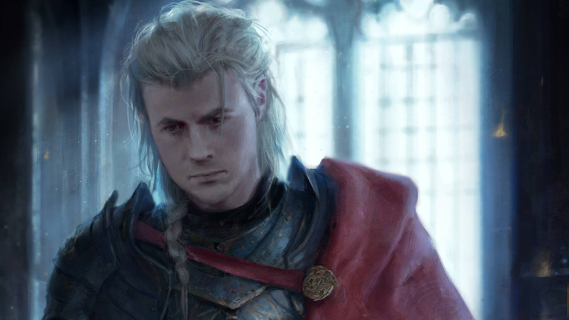 Rhaegar Targaryen, wearing a red cloak and looking down to his right