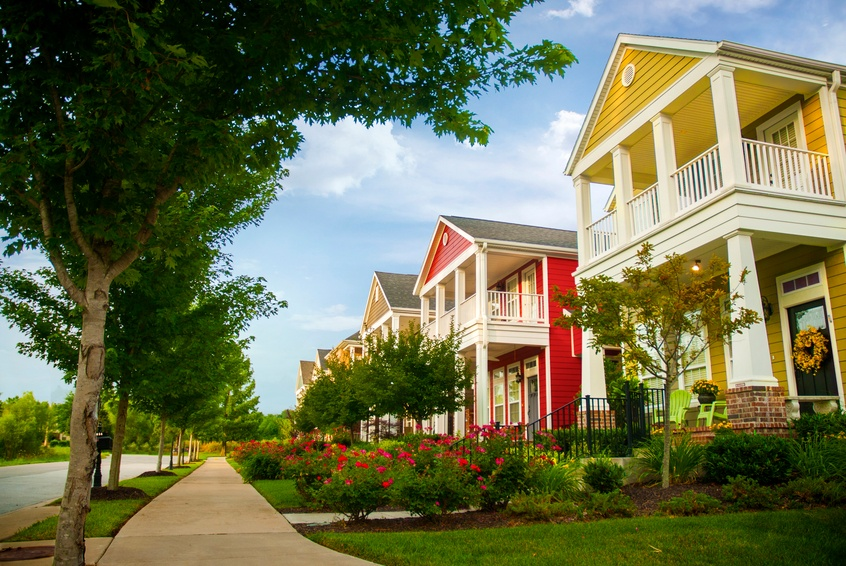 Row of colorful garden homes in fayetteville