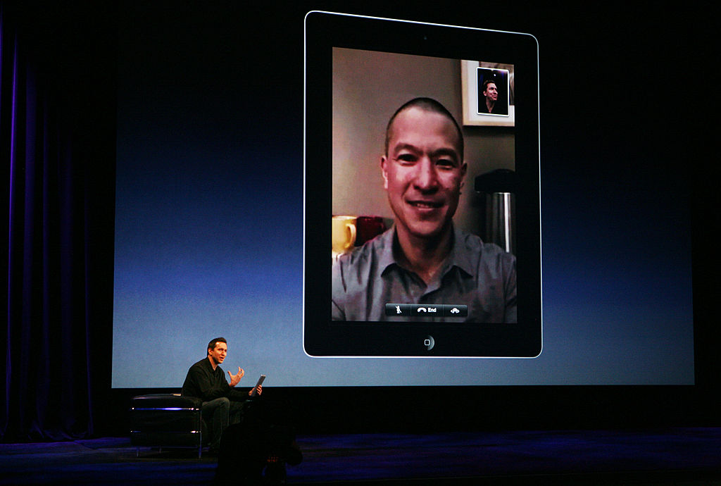 Scott Forstall, senior vice president of iPhone software for Apple showing a video chat demonstration