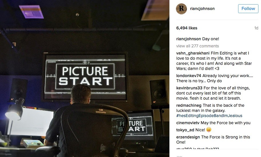 Rian Johnson editing Star Wars: Episode VIII