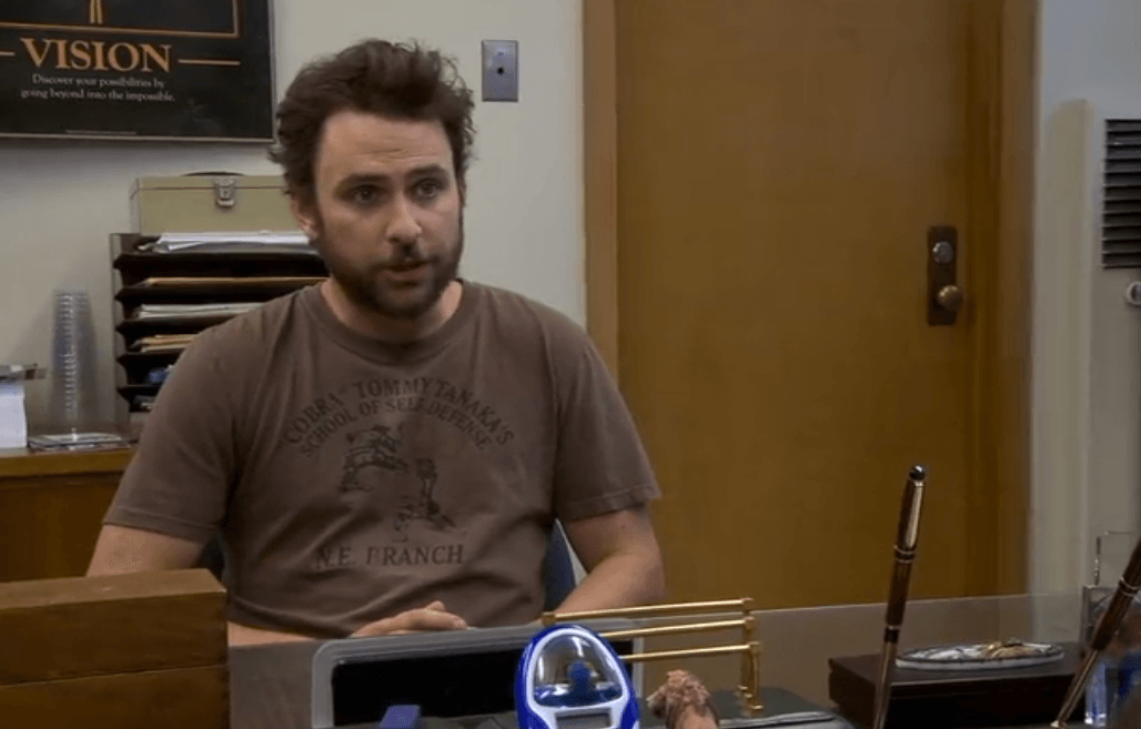 Charlie (Charlie Day) from FX's It's Always Sunny in Philadelphia during a job interview
