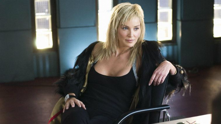 Sharon Stone is sitting in a chair in 'Basic Instinct 2.'