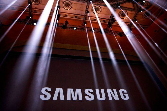 NEW YORK, NY - AUGUST 2: The Samsung logo is displayed on a screen prior to the start of a launch event for the Samsung Galaxy Note 7 at the Hammerstein Ballroom, August 2, 2016 in New York City. The stylus equipped smartphone will be available starting August 19, with preorders starting August 3.