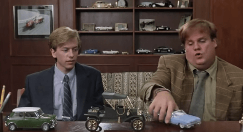 Actors David Spade and Chris Farley in Tommy Boy
