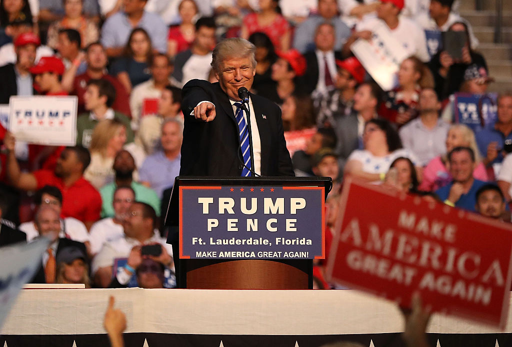 Republican presidential nominee Donald Trump speaks during his campaign event