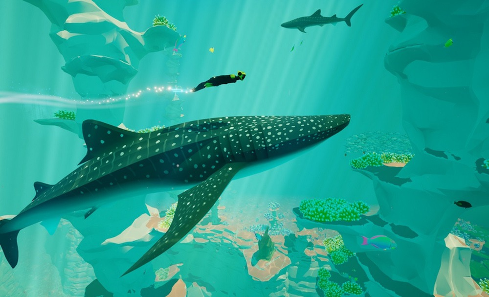 A diver swims with a whale in the video game Abzu