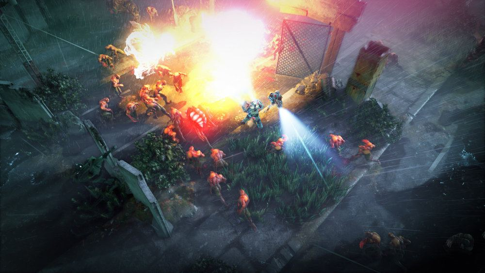 Soldiers fighting aliens.
