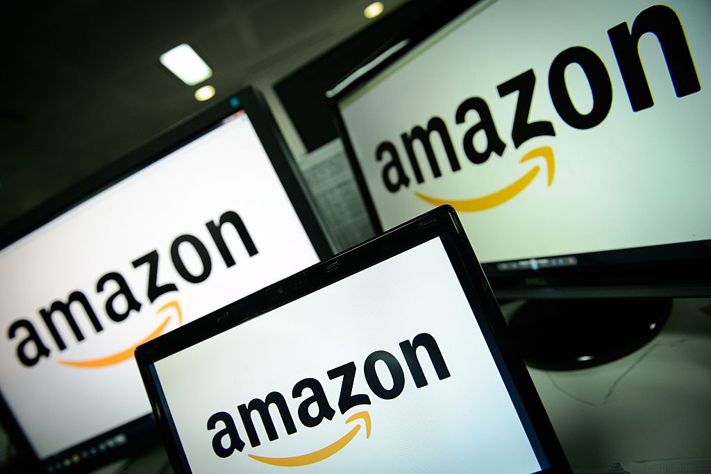 A picture shows the logo of the online retailer Amazon