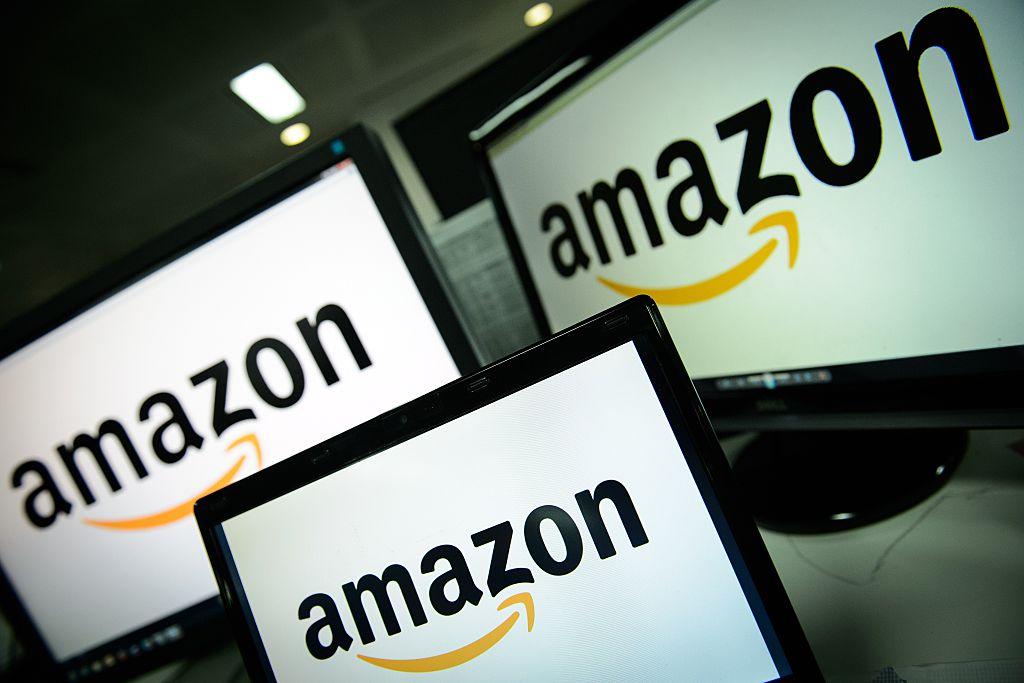 amazon logo on three screen