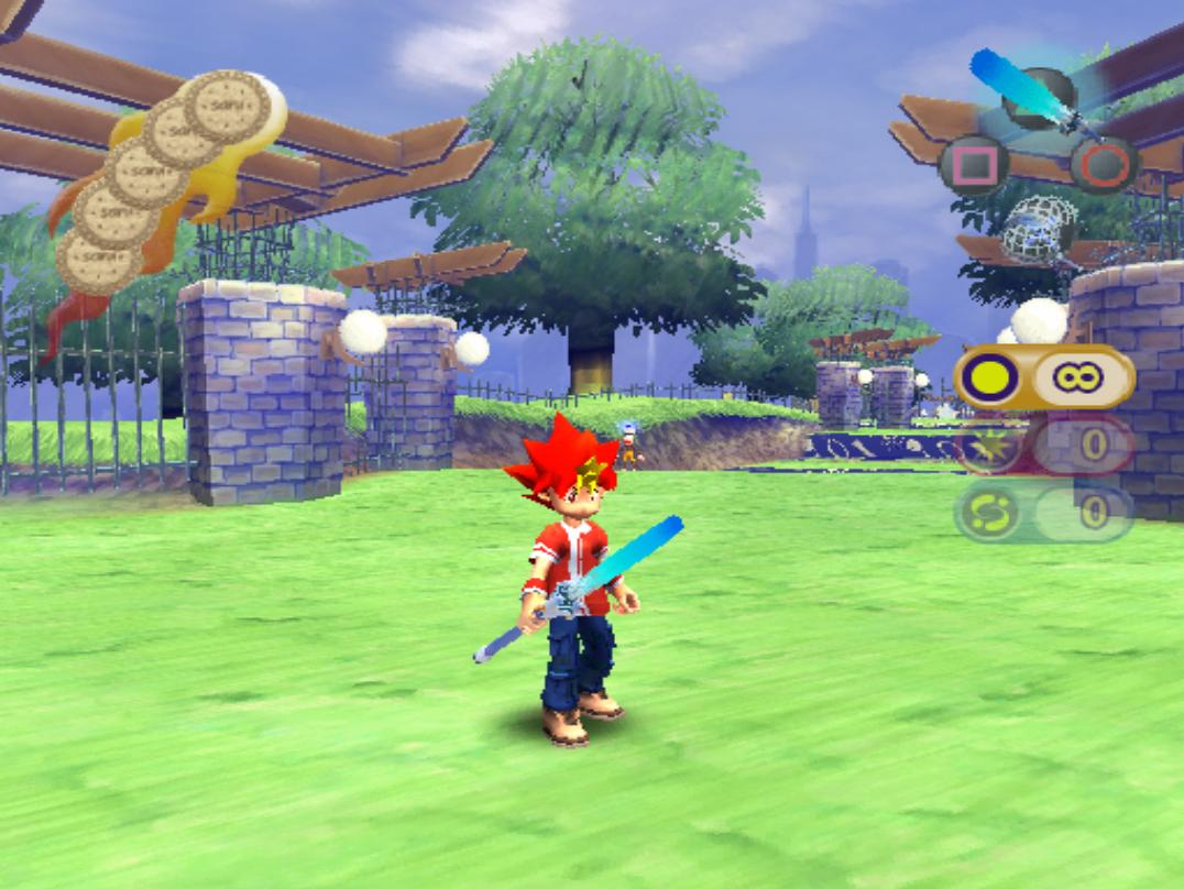 The protagonist of Ape Escape 2 holding a sword.