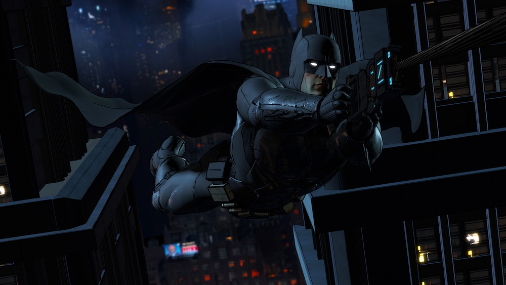 Batman and his grappling gun | Source: Telltale Games
