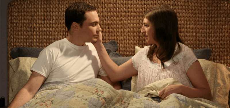 Sheldon and Amy in bed on The Big Bang Theory