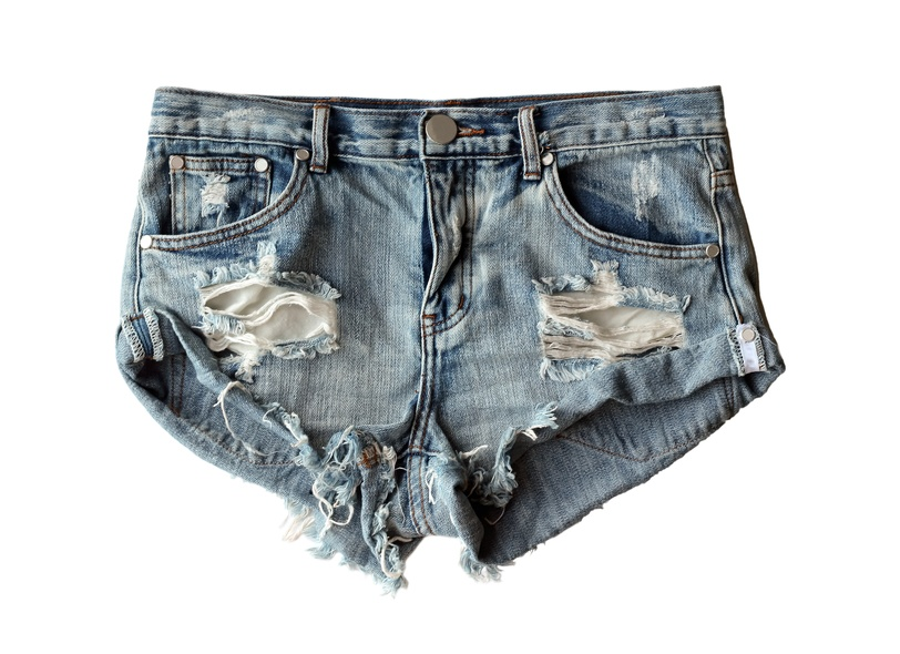 blue denim shorts ripped