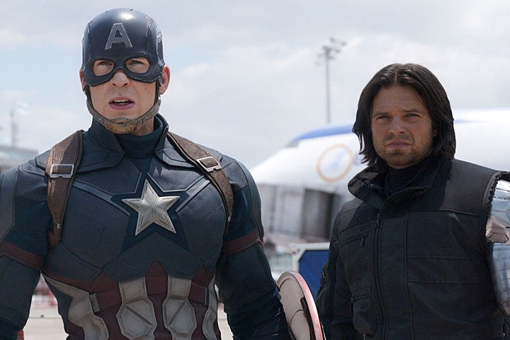 Captain America and Bucky Barnes stand next to each other in Captain America: Civil War