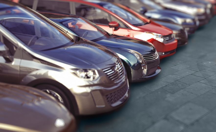 cars parked in a line