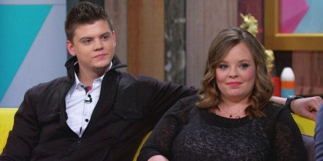 Catelynn Lowell sitting with Tyler during a talk show.